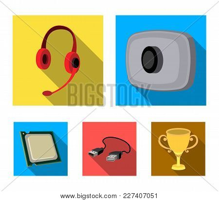 Webcam, Headphones, Usb Cable, Processor. Personal Computer Set Collection Icons In Flat Style Vecto