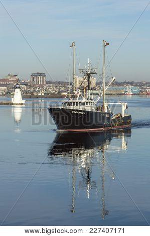 New Bedford, Massachusetts, Usa - February 19, 2018: Commercial Fishing Vessel Edgartown Leaving New