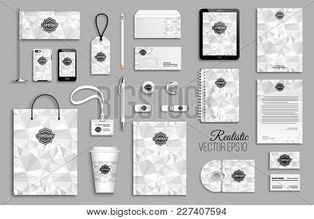Corporate Identity Template Set. Business Stationery Mock-up With Logo. Branding Design. Geometric B