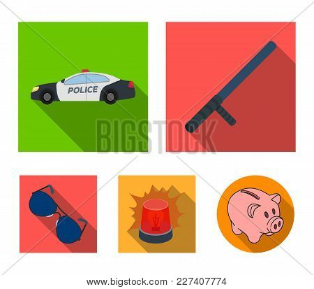 Police Baton, Auto, Flasher, Glasses.police Set Collection Icons In Flat Style Vector Symbol Stock I