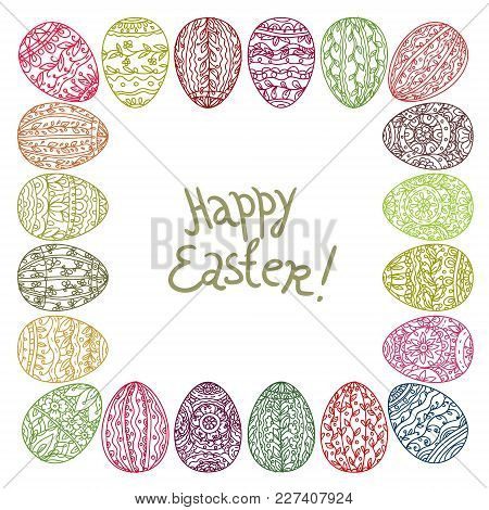 Easter Holiday Wishes Poster. Patterned Easter Egg With Cartoon Greeting Card For Easter Festive Des