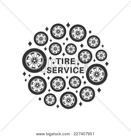 Tire Repair Service. Circle Background Consisting Of Wheel Icons In Flat Style.