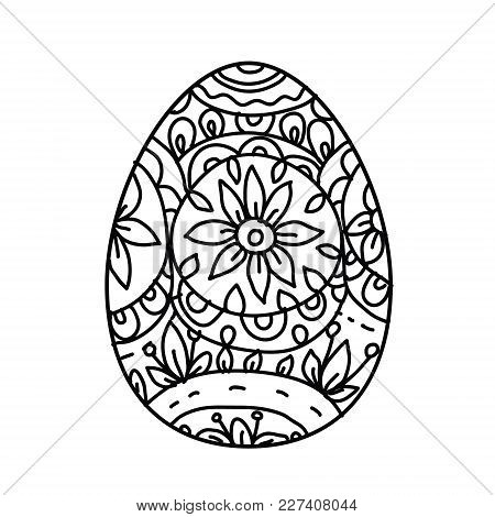 Easter Egg On White Background.coloring Page For Children And Adult. Vector Illustration.
