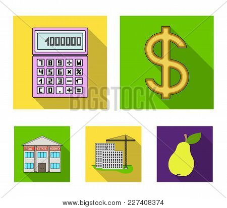 Calculator, Dollar Sign, New Building, Real Estate Offices. Realtor Set Collection Icons In Flat Sty