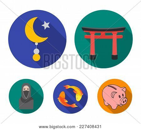 Torii, Carp Koi, Woman In Hijab, Star And Crescent. Religion Set Collection Icons In Flat Style Vect