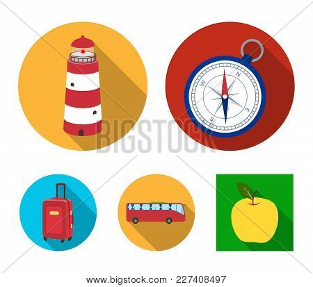 Vacation, Travel, Lighthouse, Compass .rest And Travel Set Collection Icons In Flat Style Vector Sym