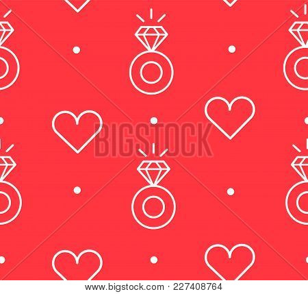 Seamless Pattern In Polka Dot With Contour Engagement  Rings And Hearts. Thin Line Flat Design. Vect