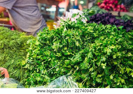Different Fresh Vegetables And Herbs On Outdoor Display On Market Pace Of Tel Aviv, Israel. Selectiv
