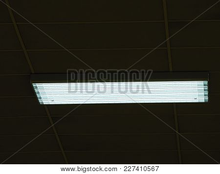 Ceiling Of Office Building With Lights. Industry House With Blue  Toned Lighting, Modern Panel Ceili