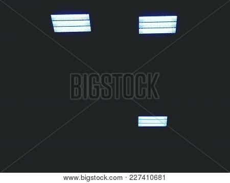 Light From Wooden Ceiling Of Sporting Building, Energy Saver Light Panels, Blue Light