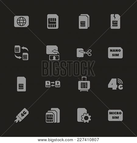Sim Cards Icons - Gray Symbol On Black Background. Simple Illustration. Flat Vector Icon.