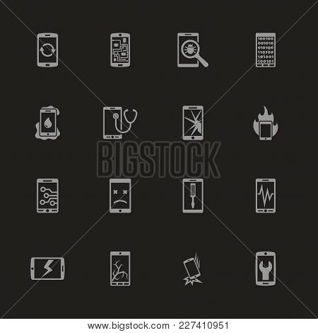 Smartphone Repair Icons - Gray Symbol On Black Background. Simple Illustration. Flat Vector Icon.