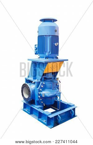 Industrial High-pressure Water Pump For Water Supply Isolated On White Background.