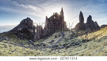 Hiking At  The Old Man Of Storr. The Old Man Of Storr Is One Of The Most Photographed Wonders In The