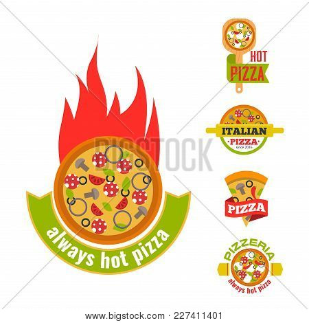 Delivery Pizza Logo Badge Pizzeria Restaurant Service Fast Food Vector Illustration. Food And Drink