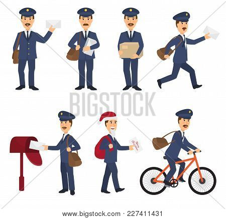 Postman Vector Mailman Delivers Mails In Postbox Or Mailbox And Post Character Carries Mailed Letter