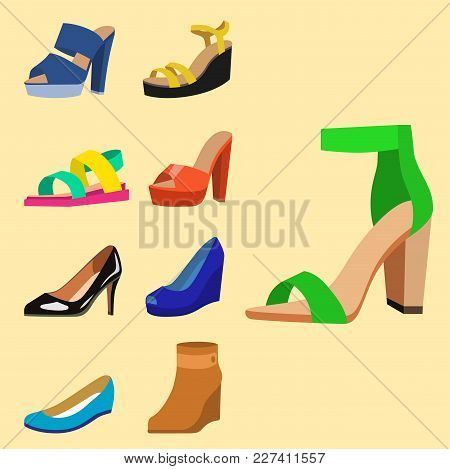 Womens Shoes Vector Flat Fashion Design Collection Of Leather Colored Moccasins Shoes Sandals Illust