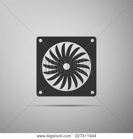 Computer Cooler Icon Isolated On Grey Background. Pc Hardware Fan. Flat Design. Vector Illustration