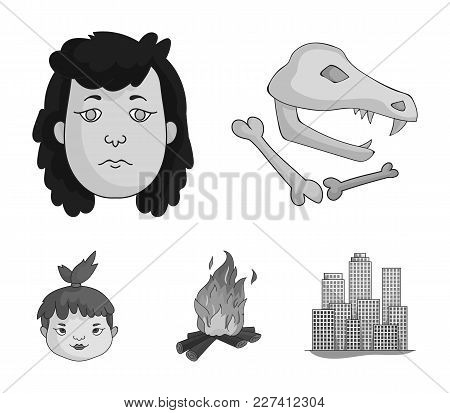 Woman, Hair, Face, Bonfire .stone Age Set Collection Icons In Monochrome Style Vector Symbol Stock I