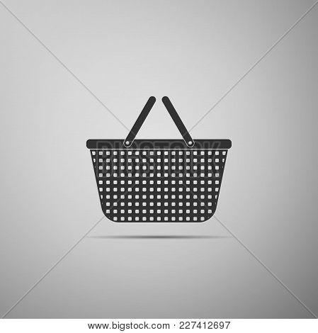 Shopping Basket Icon Isolated On Grey Background. Flat Design. Vector Illustration