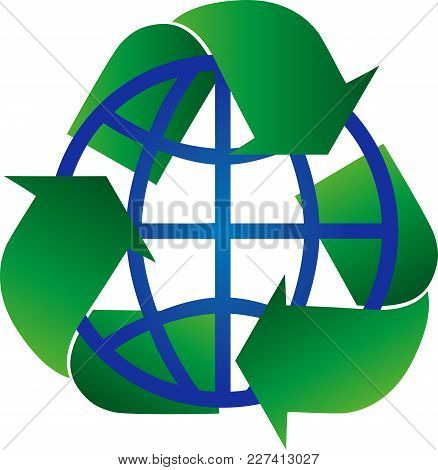 Recycling Arrows And Globe, Recycling And Environment Logo