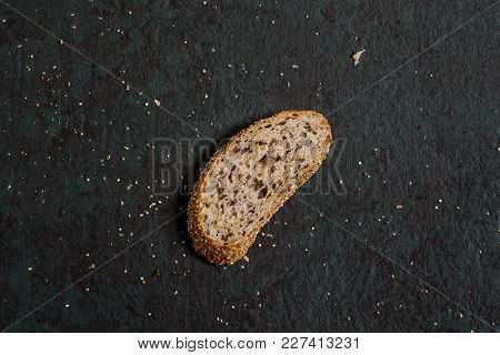 One Slice Freshly Baked Homemade Whole Wheat Bread With Flaxseeds. Useful Dietary Bread Without Yeas