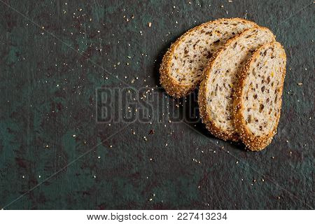 Freshly Baked Homemade Whole Wheat Bread With Flaxseeds. Slices Useful Dietary Bread Without Yeast.