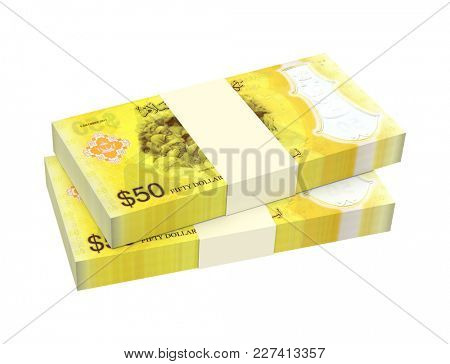 Brunei dollar bills isolated on white with clipping path. 3D illustration.