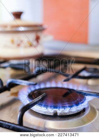 Fire of a gas stove