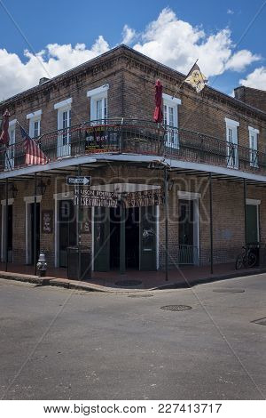 New Orleans, Louisiana - June 18, 2014: Detail Of A Building In The Bourbon Street, In The French Qu
