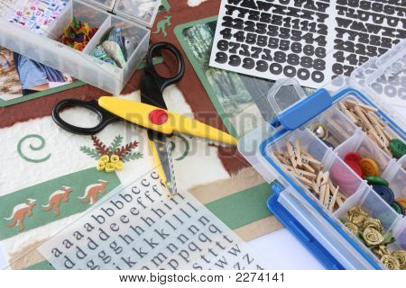 A selection of scrapbooking / craft materials poster
