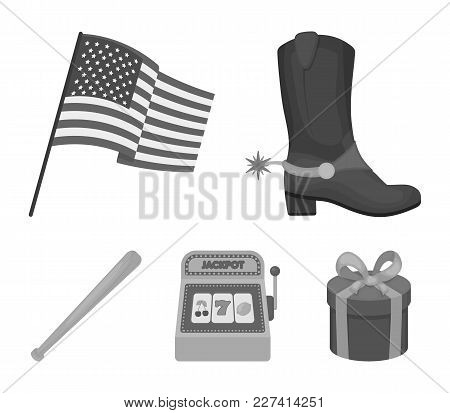 Cowboy Boots, National Flag, Slot Machine, Baseball Bat. Usa Country Set Collection Icons In Monochr
