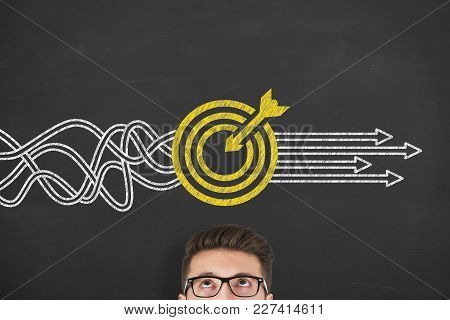 Goal Solution Concepts On Blackboard Background Working