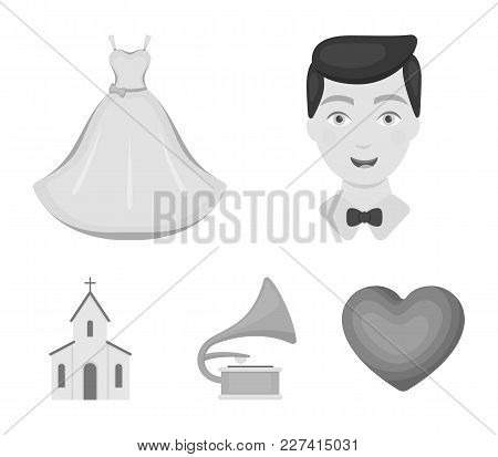 Wedding Dress, Groom, Gramophone, Church. Wedding Set Collection Icons In Monochrome Style Vector Sy