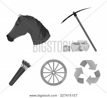 Pickax Hoe, Horse Head, Wheel Cart, Quiver With Arrows.wild West Set Collection Icons In Monochrome