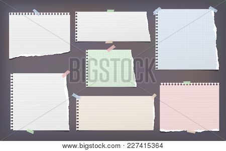 White And Colorful Torn, Lined, And Squared Note, Notebook Paper Strips For Text Stuck With Sticky T