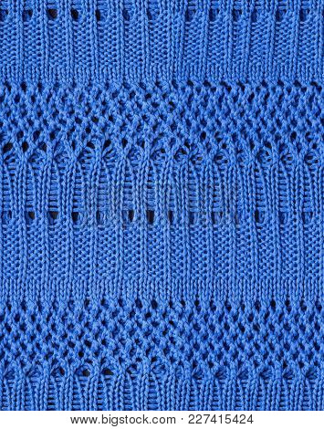 Tileable Blue Knitted Fabric Cloth Pattern, Background And Texture.