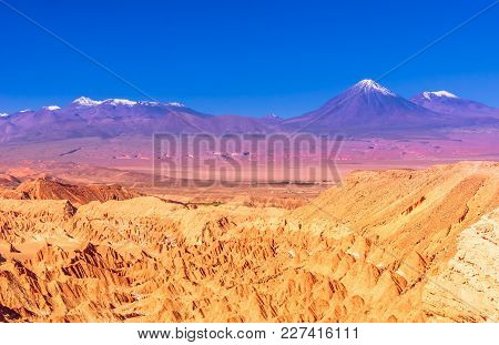 View On Death Valley An Volcanoes In The Desert Of Atacama - Chile