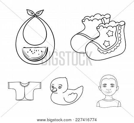 Socks, Bib, Toy Duck, Raspashonka.baby Born Set Collection Icons In Outline Style Vector Symbol Stoc