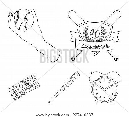 Club Emblem, Bat, Ball In Hand, Ticket To Match. Baseball Set Collection Icons In Outline Style Vect