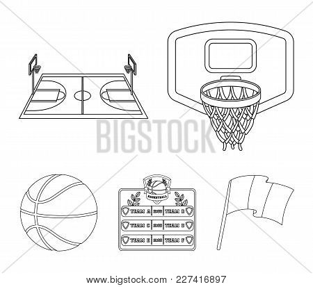 Shield With A Basket, A Playground, A Table Of Commands, A Basketball Ball. Basketball Set Collectio