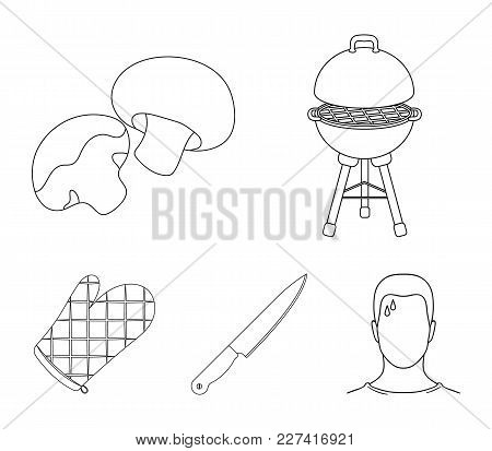 Barbeque Grill, Champignons, Knife, Barbecue Mitten.bbq Set Collection Icons In Outline Style Vector