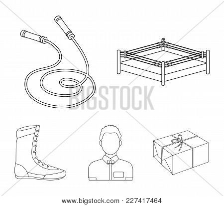 Ring, Rope, Referee, Sneakers .boxing Set Collection Icons In Outline Style Vector Symbol Stock Illu
