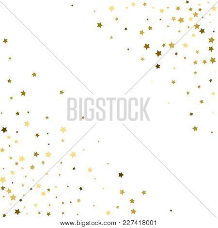 Corners Frame, Cosmic Abstract Vector Pattern With Gold Star Ele