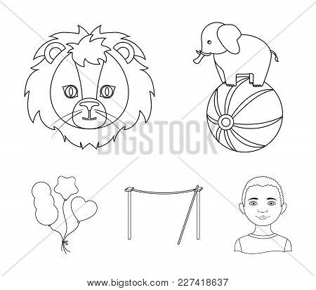 Elephant On The Ball, Circus Lion, Crossbeam, Balls.circus Set Collection Icons In Outline Style Vec