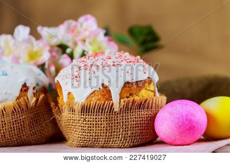 Easter Bread And Eggs With Apple Blossom Easter Cake - Traditional Orthodox Christian Kulich