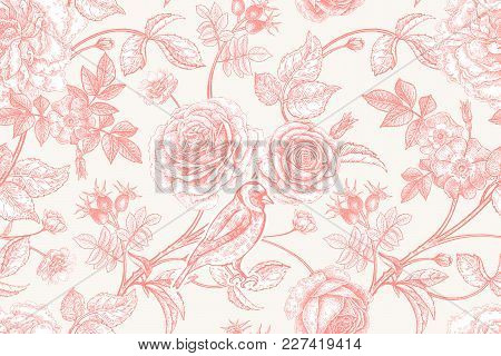 Garden Flowers Roses, Peonies And Dog Rose, Bird On Branches . Floral Vintage Seamless Pattern. Red
