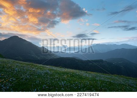 Mountain Landscape At Sunrise.