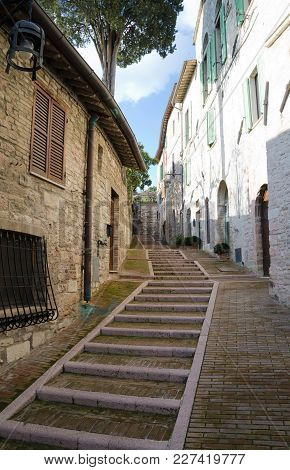 Narrow Street Leading Up To La Rocca, Assisi