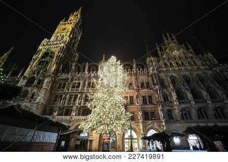 Munich, Germany - December 11, 2017 : A Low Angle View Of The Decorated Illuminated Christmas Tree A